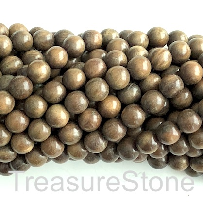 Bead, scented wood, greenish brown, 8mm round. Pkg of 108pcs.
