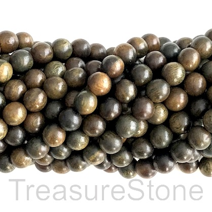Bead, scented wood, green tan, 8mm round. Pkg of 108pcs.