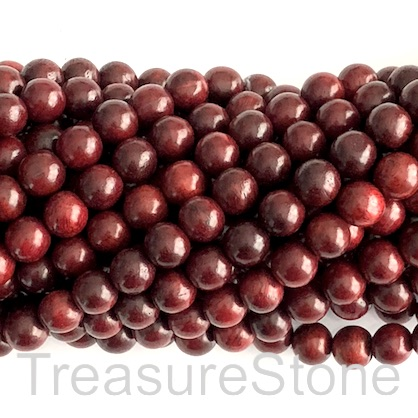 Bead, scented wood, red tan, 8mm round. Pkg of 108pcs.