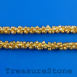 Cord, gold seed-beaded, 6mm. Sold per meter.