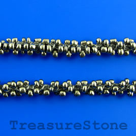 Cord, gun-metal seed-beaded, 6mm. Sold per meter.