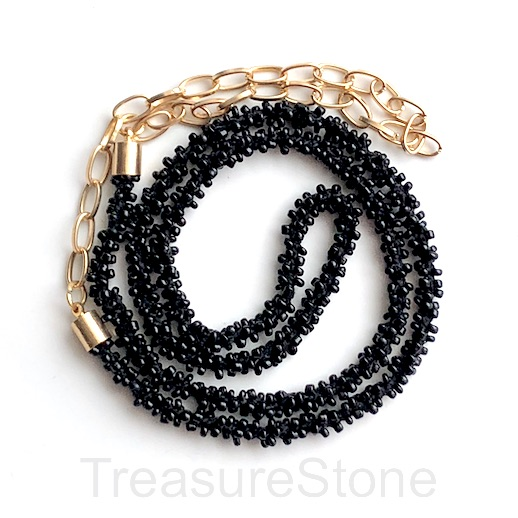 Cord, black seed-beaded, 6mm. 21.5 inch with cord ends.