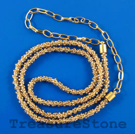 Cord, rose-gold seed-beaded, 6mm, 22 inch with 9 inch chain.