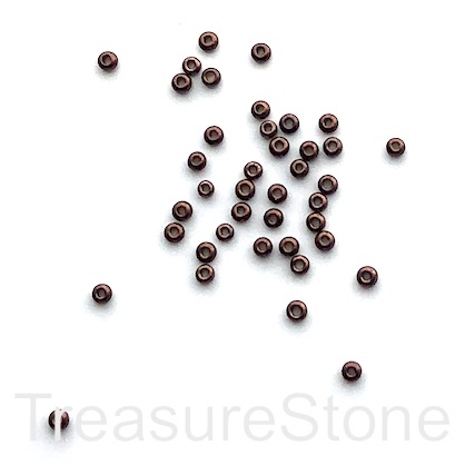 Seed bead, glass, copper, #10, 2mm round.18gram, about 1500pcs.