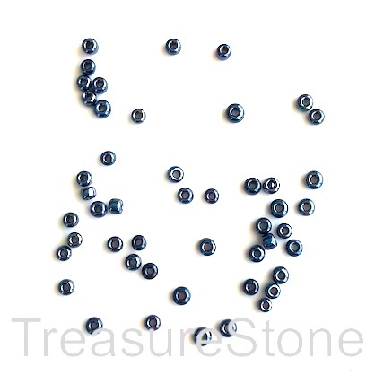 Seed bead, glass, dark blue, #10, 2mm round. 18-gram, 1500pcs.