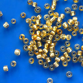 Seed bead, glass, gold, #10, 2mm round. 18-gram, about 1500pcs.