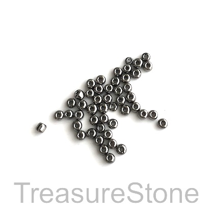 Seed bead, glass, grey, #10, 2mm round. 18-gram, about 1500pcs.