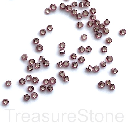 Seed bead, glass, mauve, #10, 2mm round.18gram, about 1500pcs.