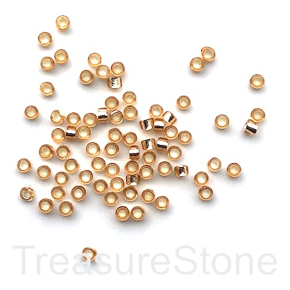 Seed bead, glass, peach, #10, 2mm round, hole:1mm, 15g,1500pcs.