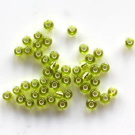 Seed bead, glass,peridot, #10, 2mm round. 18-gram, about 1500pcs