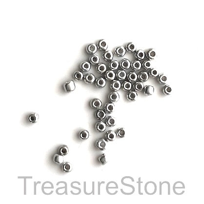 Seed bead, glass, silver, #10, 2mm round. 15-gram, about 1500pcs