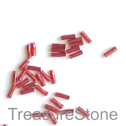 Bead, glass, red, 2x6mm twisted tube, Grade B. 15-gram