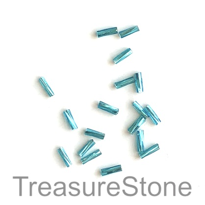 Bead, glass, tilt blue, 2x6mm twisted tube, Grade B. 15-gram