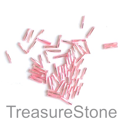 Bead, glass, pink, 2x9mm twisted tube, Grade B. 15-gram