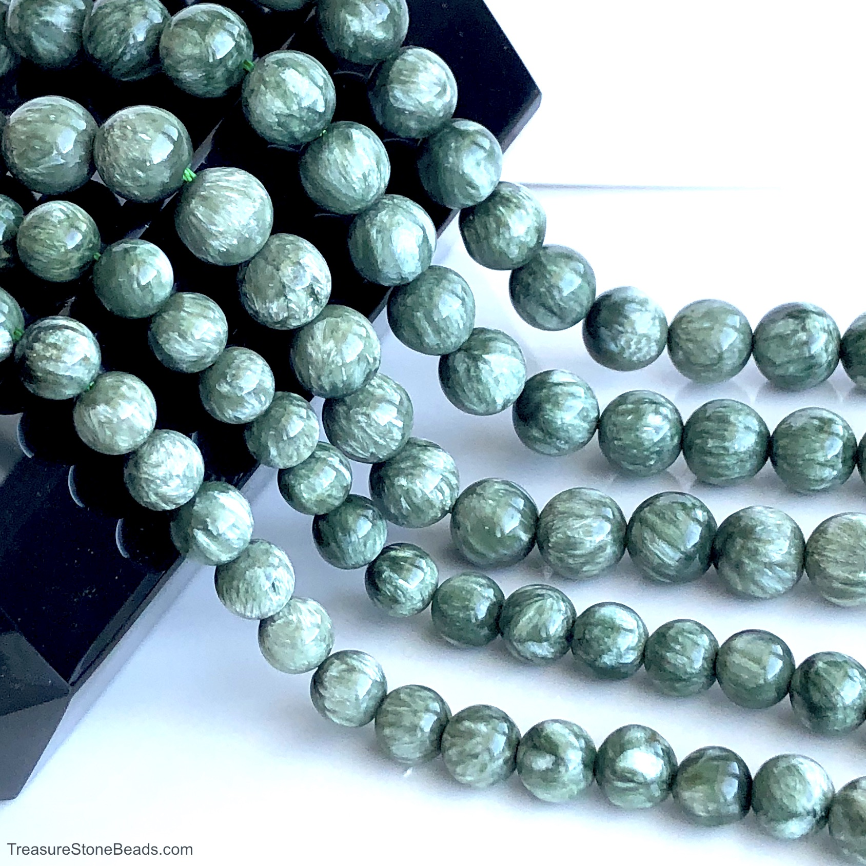 Bead, Seraphinite, 6mm round. 15.5-inch strand, 60pcs