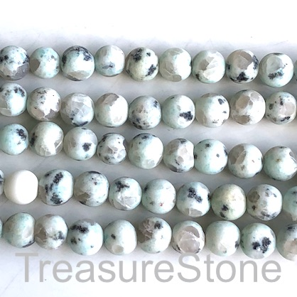 Bead, sesame jasper, 8mm round, matte/ frosted. 15inch/ 47pcs