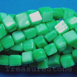 Bead, shell, green (dyed), 5 to 6mm cube. 16-inch strand.