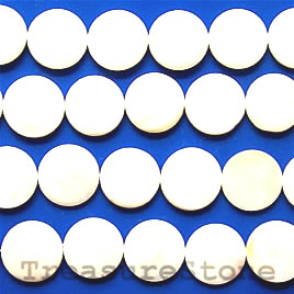 Bead, shell, 20mm flat round. Sold per 16-inch strand.
