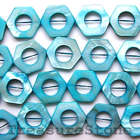 Bead, shell, blue (dyed), 17/10mm hex. Sold per 16-inch strand.