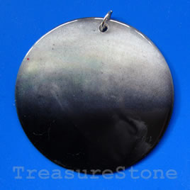 Pendant, shell, 49mm round. Sold individually.