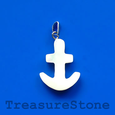 Charm/pendant, MOP shell, 16mm anchor. Pack of 2pcs.