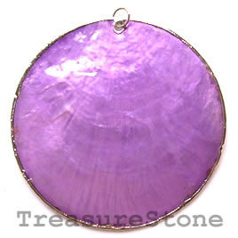 Pendant, shell, 70mm round. Sold individually.