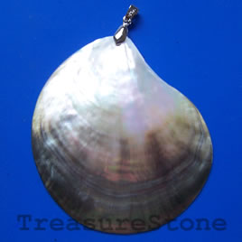 Pendant, shell, 75x68mm. Sold individually.