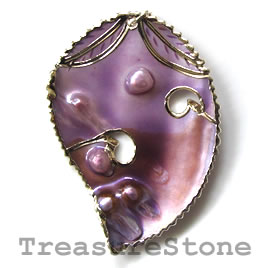 Pendant, shell, 45x60mm. Sold individually.