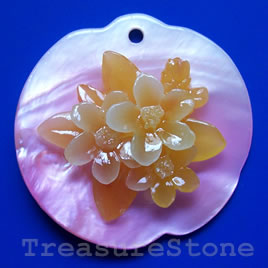 Pendant, shell, 50mm flower. Sold individually.