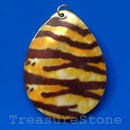Pendant, shell, 37x50mm teardrop. Sold individually.