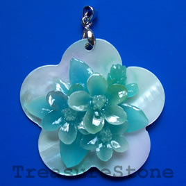 Pendant, shell, 45mm flower. Sold individually.