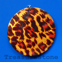 Pendant, shell, 45mm round. Sold individually.
