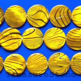 Bead, shell, yellow pattered, 20mm round. 16-inch strand.