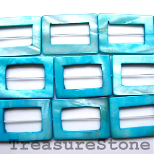 Bead, shell, blue(dyed), 20x30/10x20mm rectangle. 16-inch strand