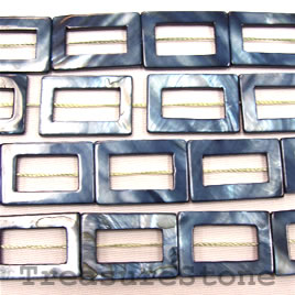 Bead, shell, dark blue (dyed), 20x30mm rectangle. 16-inch strand