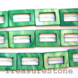Bead, shell, green (dyed), 20x30mm. 16-inch strand.