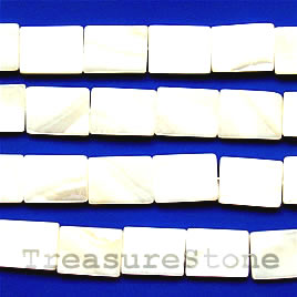 Bead, shell, white, 14x19mm rectangle. Sold per 16-inch strand.