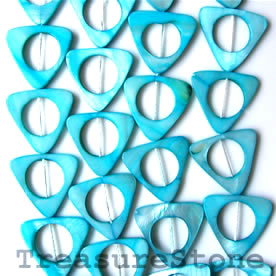 Bead, shell, blue(dyed), 23/15mm triangle. 16-inch strand