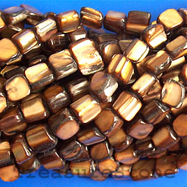 Bead, shell, brown chip (dyed). Sold per 15.5-inch strand.