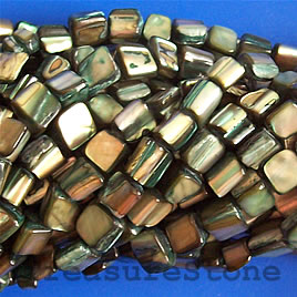Bead, shell, green chip (dyed). Sold per 15.5-inch strand.
