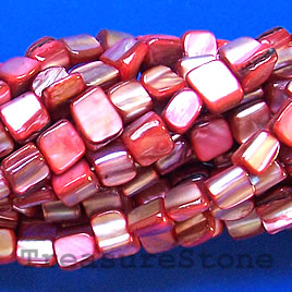 Bead, shell, bright red chip (dyed). 15.5-inch strand.