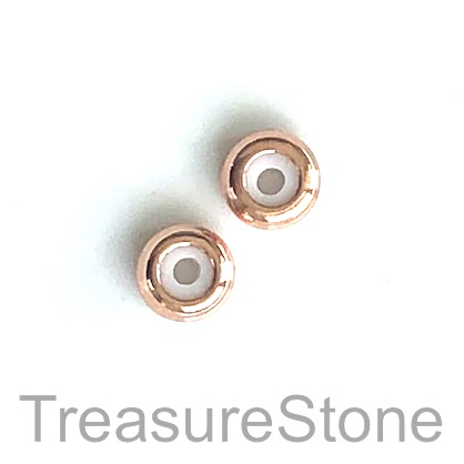 Bead, silicone slider 1, brass, rose gold, 3x7mm rondelle, 4pcs