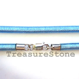 Cord, silk w sterling silver clasp, connector, blue, 18 inch