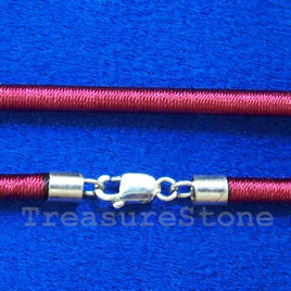 Cord, silk w sterling silver clasp, connector, cranberry,18 inch