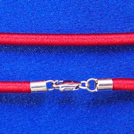 Cord, silk w sterling silver clasp, connector, red, 18 inch