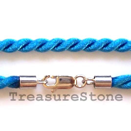 Cord, silk w sterling silver clasp, connector, turquoise,18 inch