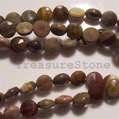 Bead, silver leaf jasper, 8mm faceted flat round. 16-inch strand