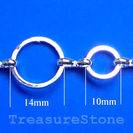Chain, brass,silver-finished, 11/14mm. Sold per pkg of 1 meter.