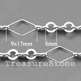 Chain, brass, rhodium-plated, 9x17/6mm. Sold per pkg of 1 meter.