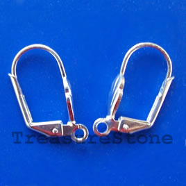 Earwire,silver-plated brass, leverback with open loop. 10 pairs.